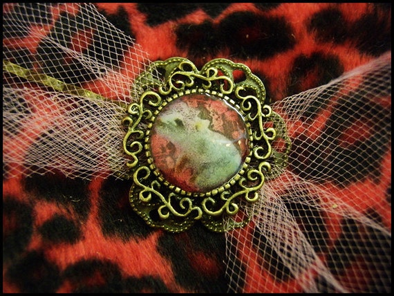 Rattie Princess antique bronze and pink tulle hairclip
