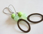 lime green earrings -  lime green antique bronze hoops - wasabi - casual