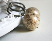 ivory earrings - stardust lady - cream beige metal colors copper gold silver round circle