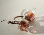 peach shining earrings - copper and swarovski - wedding lovely light warm pink