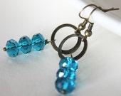 blue earrings - crystal rondelles blue antique bronze summer sea elegant summer nautical