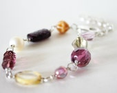 berries and cream - bracelet - pastel sweet purple ivory caramel yummy glass beads