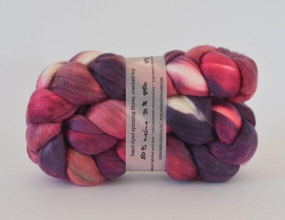 ooak BERRY - hand-dyed silk / merino top 4.4 oz