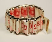Red & White Tape Measure Bracelet - Upcycled/Recycled Metal/Vinyl