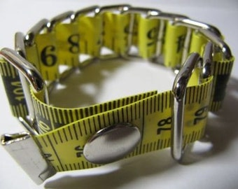 Bracelet Measure Tape - Upcycled - Metal/Plastic (Yellow)
