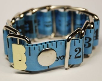 Funky  Measure Tape Bracelet - Upcycled - Metal/Plastic (Blue)