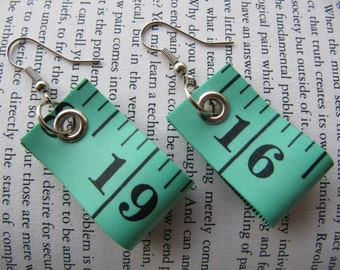 Emerald Green Tape Measure Earrings - Upcycled/Recycled