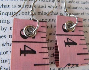 Coral Pink Tape Measure Earrings - Upcycled/Recycled