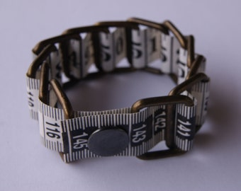 White Bracelet Measure Tape - Upcycled - Metal/vinyl