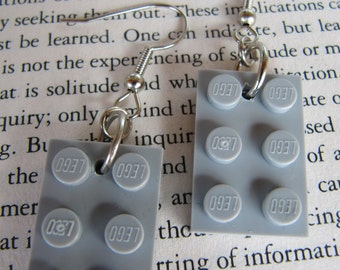 Lego Earring - Grey - Upcycled