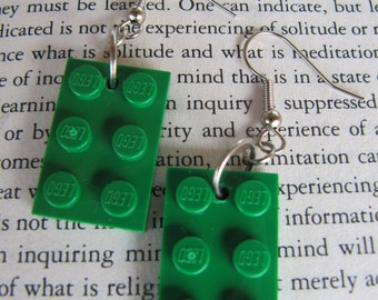 Lego Earring - Green - Upcycled