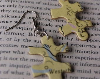 Puzzle Earrings Yellow - Map Holland/Belgium - Recycled/Upcycled