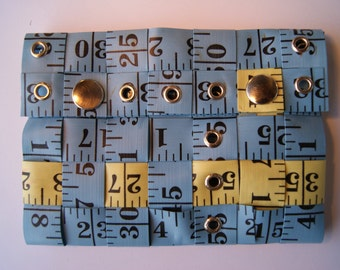 Blue & Yellow XL Tape Measure Wallet - Upcycled Vinyl/Metal (Turquoise Cobalt)