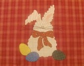 Fluffy Bunny Applique PDF Pattern for Tea Towel or Quilt Square From Quilt Doodle Designs