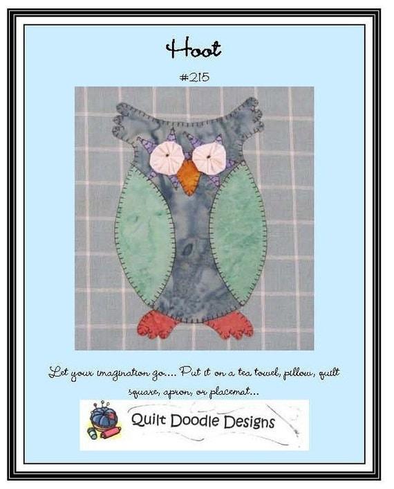 Hoot Applique  Pattern for Tea Towel