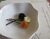 VIntage inspired flower hair pins in dark peach, creamy ivory and warm black