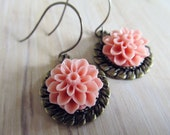 Peach floral earrings in antique brass bezels, shabby chic jewelry, romantic, vintage inspired earrings