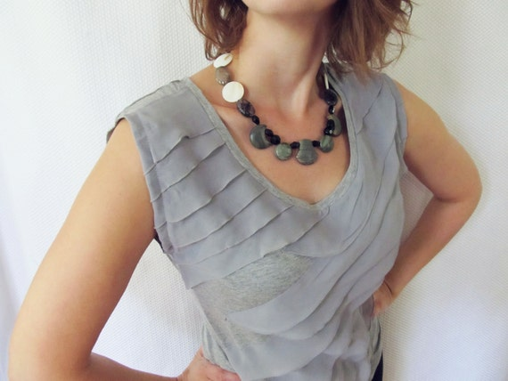 Picasso stone necklace- gemstones in fun, funky shapes with black crackled agate and mother of shell 50% off for a limited time