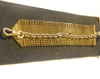 Victorian mesh fob chain with ribbon slide for repir or repurpose
