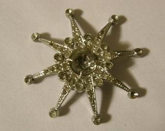 Vintage paste stone starburst brooch