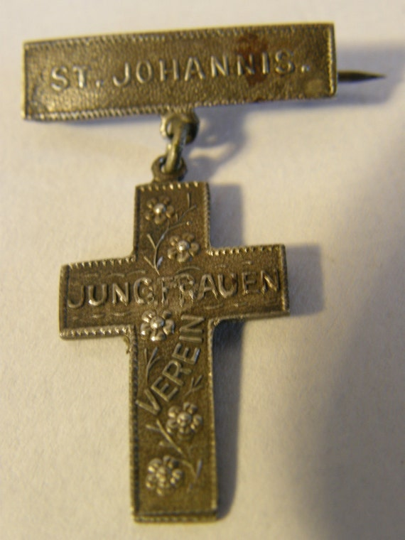 Antique Sterling Silver German Religious brooch from the 1800's - St. Johannis. Verein Jungfrauen