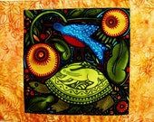 Folk Art Placemat - Turtle and Bird with Gold Borders