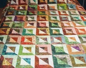 Quilt Queen Size Patchwork Shadows in Earth Tones of Green, Rust, Brown and Gold