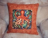 RESERVED FOR LINDA Quilted Pillow Cover -- Folk Art Octopus in Rust, Green and Blue