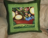 Quilted Pillow Cover Folk Art Fisherman Under Moonlight in Green, Rust, Blue and Gold