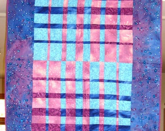 "Quilted Wall Hanging -- Woven strips of Blue and Purple with ""Galaxy"" Blue Border Fabric"