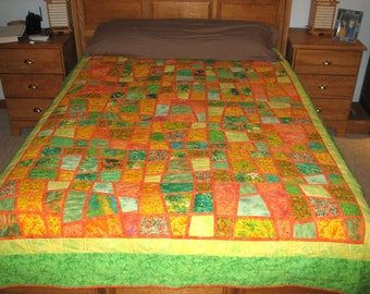 Quilt -- A Mosaic Nine Patch in Spring Greens, Orange and Yellow