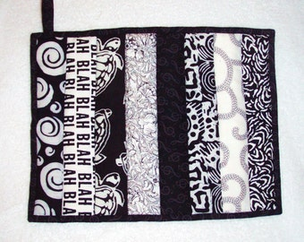 Quilted Pot Holder / Hot Pad -- Oversized in Black and White Showing Light and Shadows