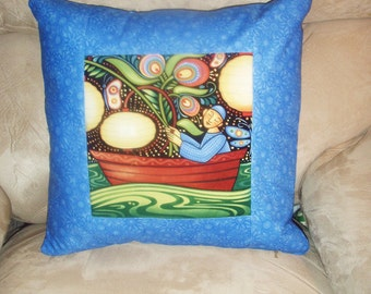 Quilted Pillow Cover Folk Art Fisherman Under Moonlight in Blue, Rust, Gold and Green