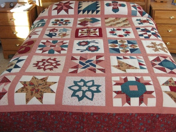 Quilt Maroon Tan and Teal Sampler
