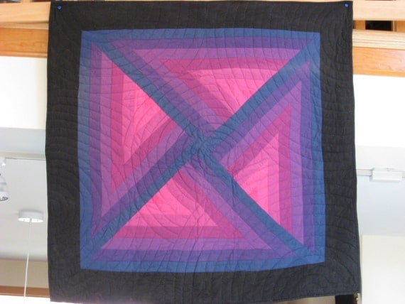 Quilted Wall Hanging Amish Purple Blue and Black in Original Design