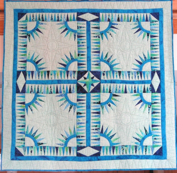 Quilt -- New York Beauty in Mint Green and Blue