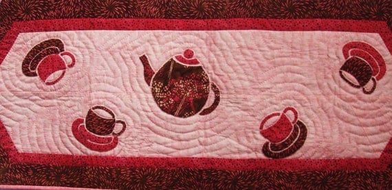 Quilted Table Runner -- Four Teacups and and a Teapot are Dancing in Pink and Brown