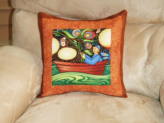 Quilted Pillow Cover -- Moonlight Fisherman With Rust and Brown Borders