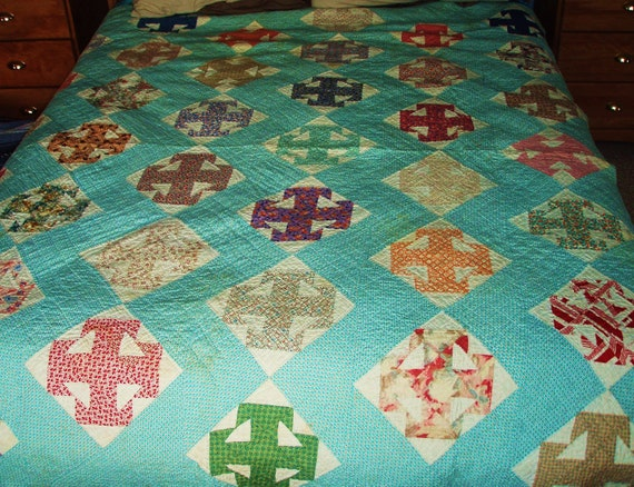 RESERVED FOR JESSICA--Antique Vintage Full Sized Patchwork Quilt in Teal, Cream and a Variety of Prints