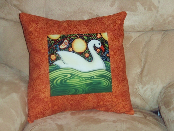 Quilted Pillow Cover -- White Swan Swimming in the Moonlight with Rust Borders