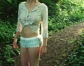 Beautiful teal and cream frilly knickers
