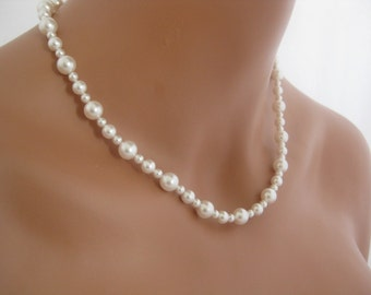 White Pearl Wedding Necklace Bridal Jewelry Swarovski Pearls