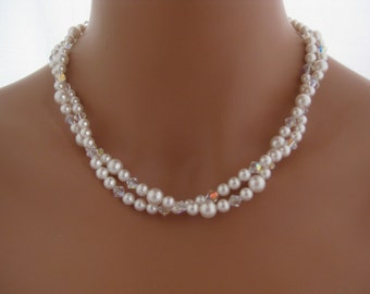 Bridal Jewelry Pearl Necklace Bridal Earrings pearl and crystal earrings Swarovski Jewelry