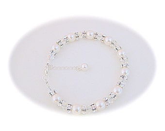 Bridal Bracelet Pearl Wedding Jewelry White Swarovski Pearl Bracelet Bridal Jewelry