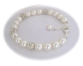 Bridal jewelry pearl bracelet rhinestone bracelet wedding jewelry for brides