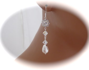Wedding jewelry Pearl Bridal Earrings Swarovski Crystal and Pearl Earrings Bridal Jewelry