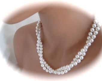 Wedding Jewelry Bridal Necklace Double Strand Pearl Necklace Bridesmaid necklace pearl bridal jewelry
