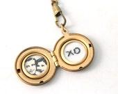 Custom Embroidered Secret Message Photo locket, golden brass round locket necklace