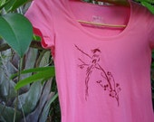 Asian Bird and Spring Blossoms Pink Tee