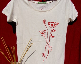 Poppies Organic Cotton Scoop Neck Tee